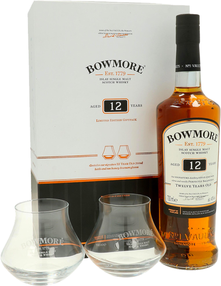 Bowmore 12 Years Old 0,7l + skleničky